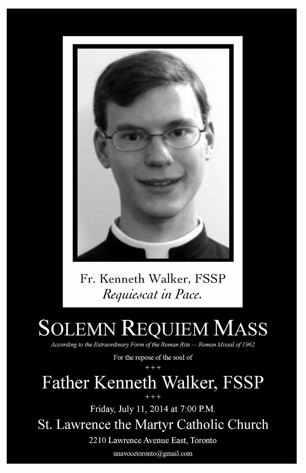 Father Kenneth Walker, FSSP, R.I.P.