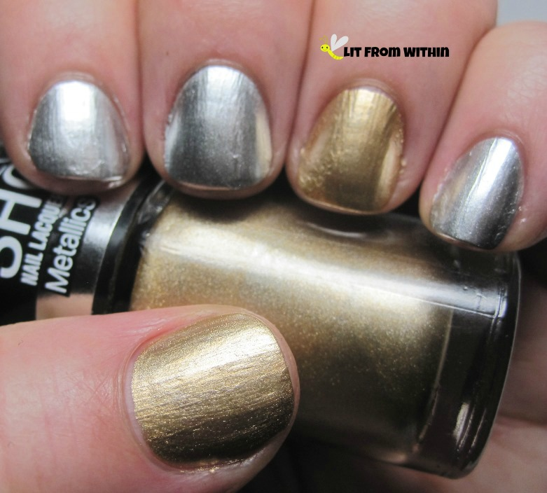 Essie No Place Like Chrome, Maybelline Bold Gold