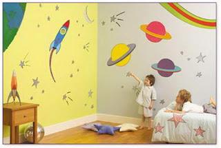 Dekorasi kamar walpaper ruang angkasa
