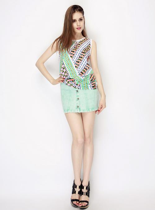 Pastel Button Front Denim Skirt