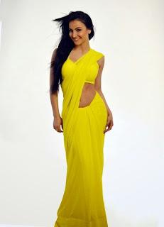Hot Elli Avram photo in a yellow saree