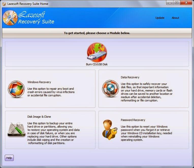 Menú principal de Lazesoft Recovery Suite