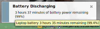 Laptop battery has 3 hours 35 minutes remaining at 99.4 percent