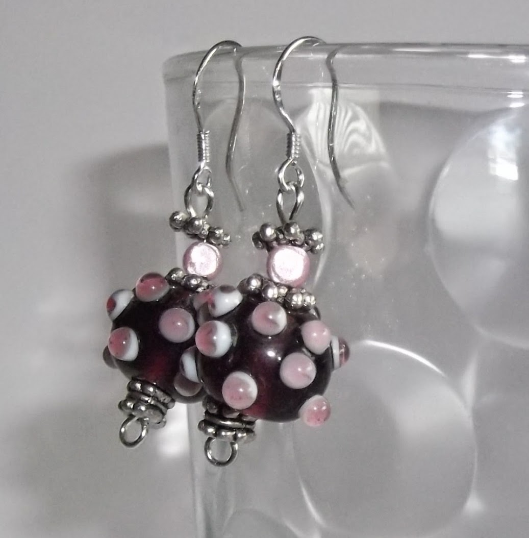 Bumpy spotty bead ear-rings on fine sterling silver wires