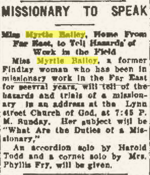 "Climbing My Family Tree: ""Missionary to Speak"", Findlay Republican Courier, 17 April 1937,  p10"