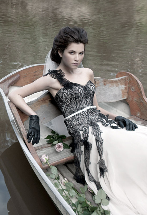 I think this Mariana Hardwick 2011 Fall Bridal Collection black lace wedding
