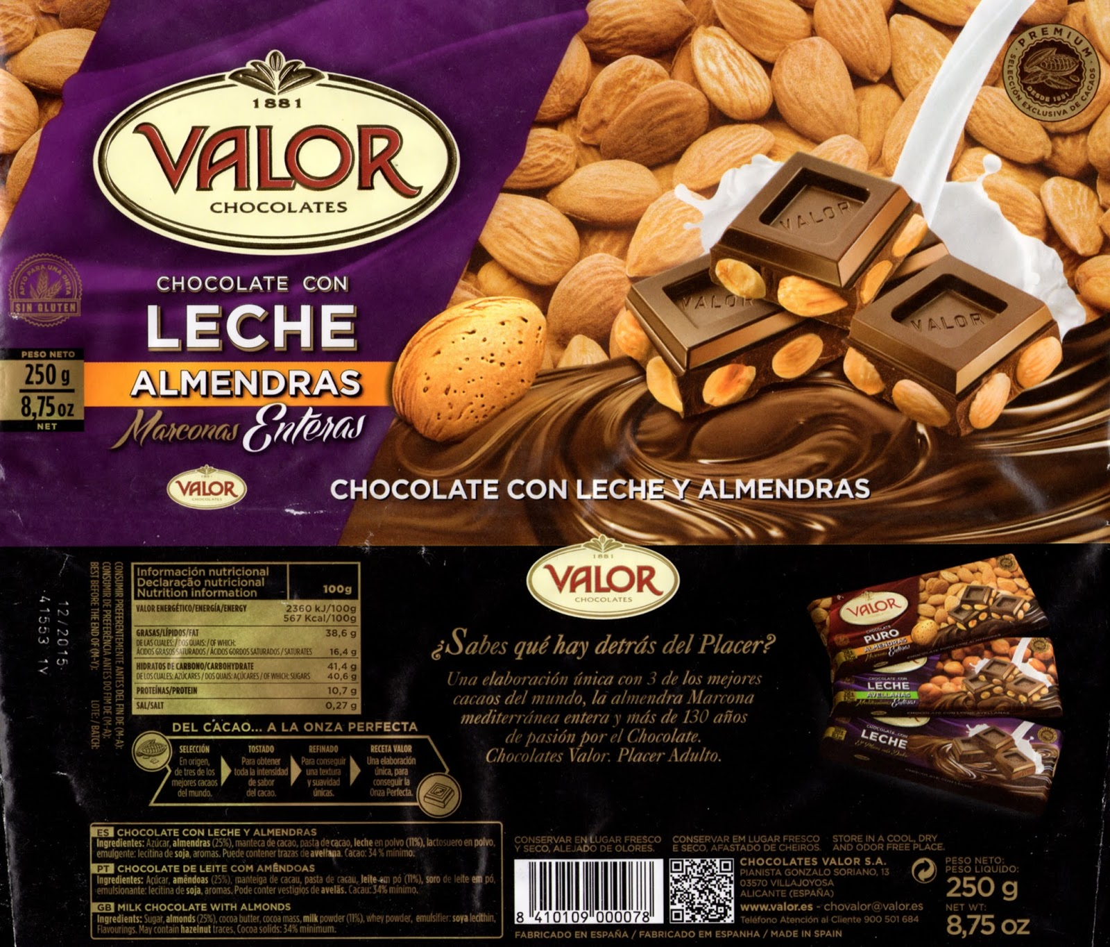 tablette de chocolat lait gourmand valor chocolate con leche y almendras