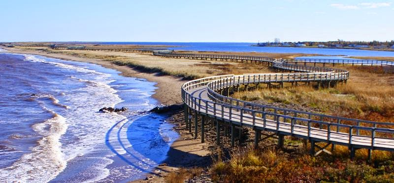 Bouctouche Dune or Sandbar is connected to the mainland at a point roughly three-and-a-half miles north of Pointe à Jérôme and extends southeast for over seven miles, providing protection for the waters of Buctouche Bay.