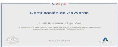 Certificado en Google AdWords Jaime Rodriguez-Jalón
