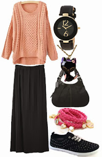 maxi skirt black outfits fall 2013 new womens clothing