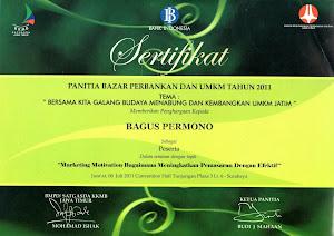 Piagam Penghargaan dari Bank Central Surabaya Jawa Timur untuk Kewirausahaan dan Pemberdayaan ..!!