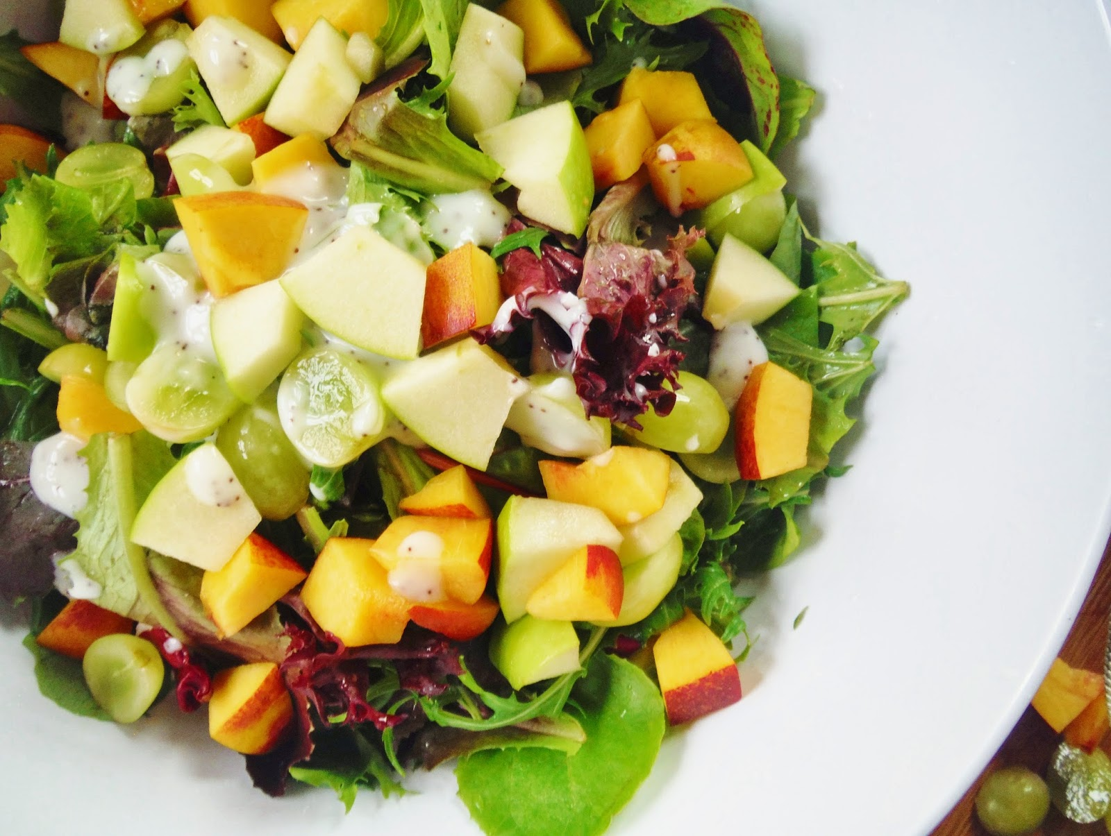 Spring Greens and Mixed Fruit Salad with Poppy Seed Dressing