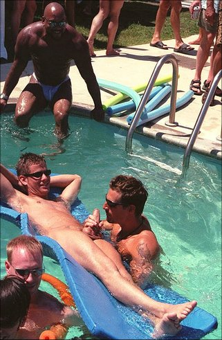 Male nude pool party, white collar male asshole massage