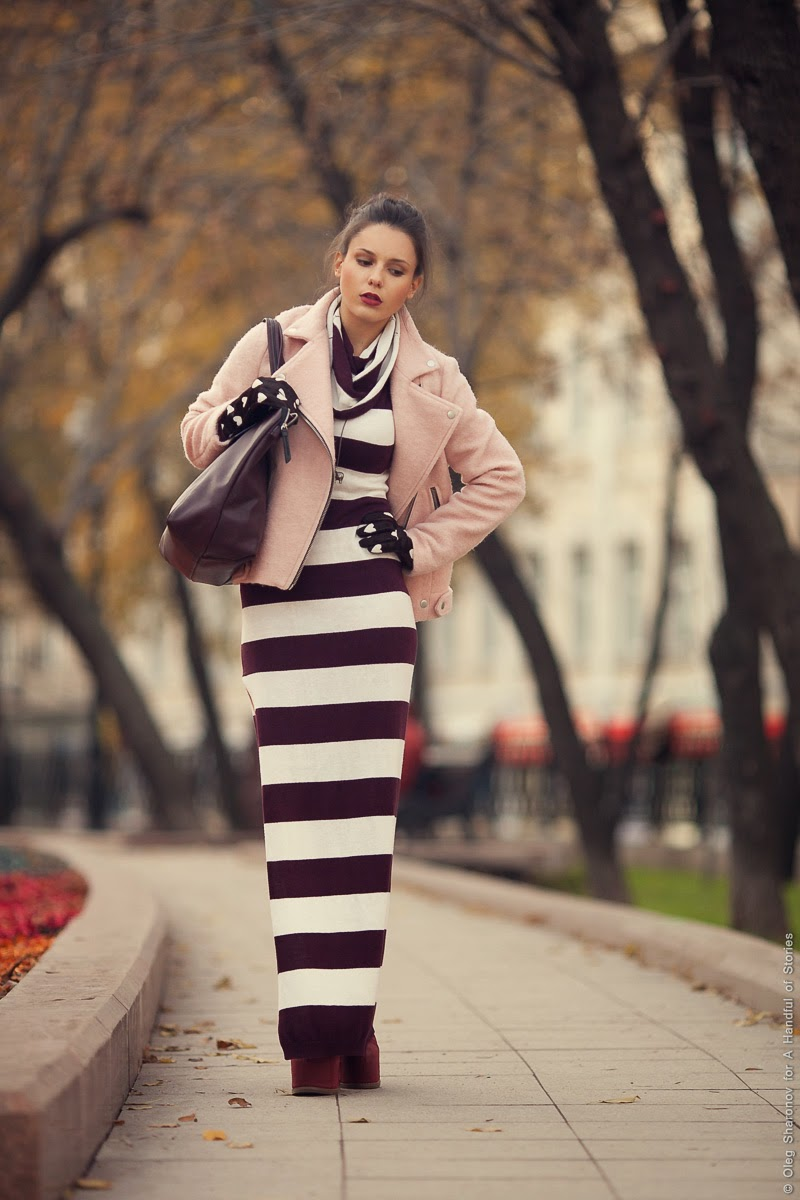pink wool coat striped dress
