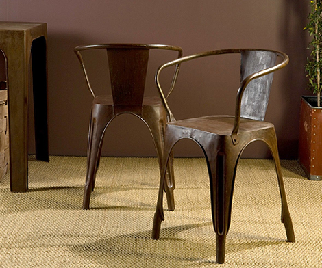 Rusted metal bistro chairs via Hudson Goods (225. ea) as seen on linenandlavender.net