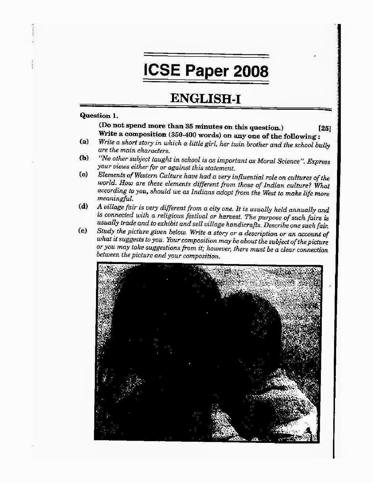 Icse class 10th 2008 English Language solved question paper 2008