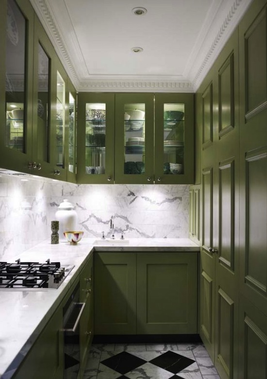 modern high gloss green efficiency kitchen