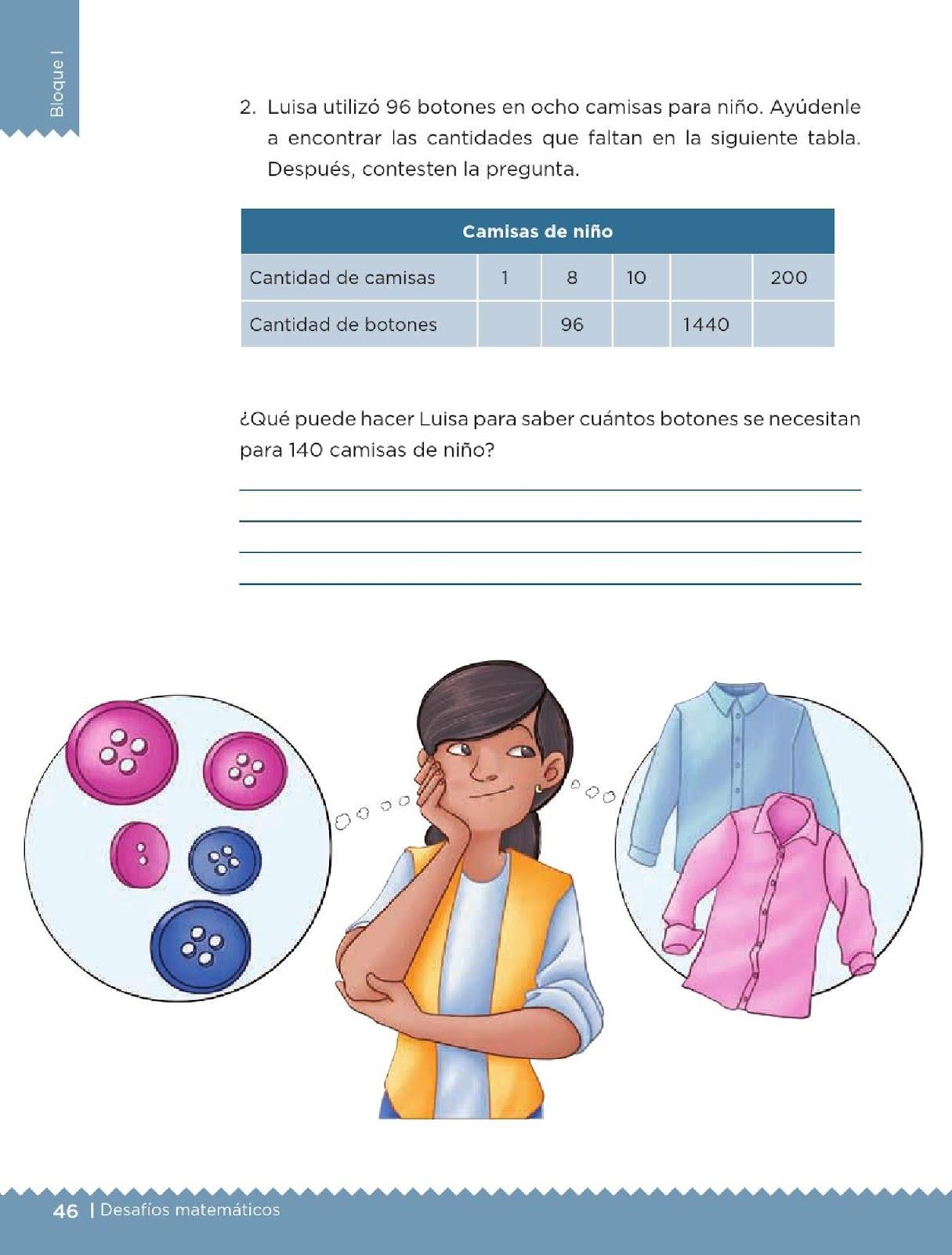 matemáticos 5to grado Bloque I lección 17 Botones y camisas View ...