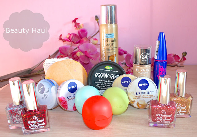 beauty haul lush nivea, revlon, sally hansen, maybelline, eos, golden rose