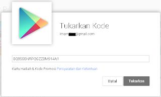 Tukarkan Google Play Gift Code