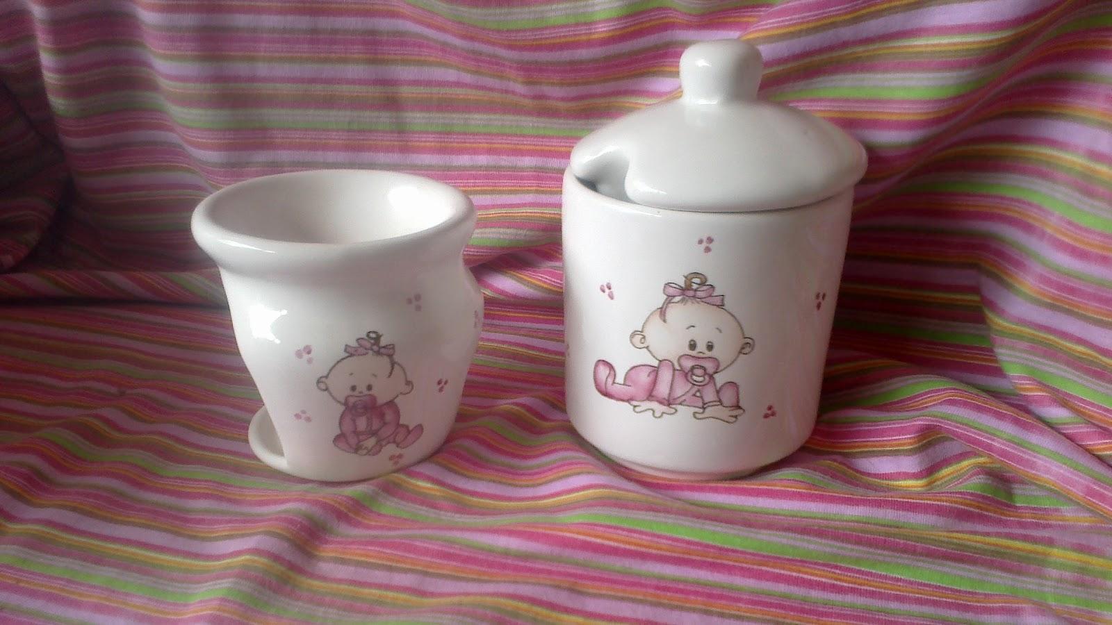 Set De Baño Souvenirs: Magica – Porcelana Pintada a Mano: Bautismo y Primer Añito souvenirs