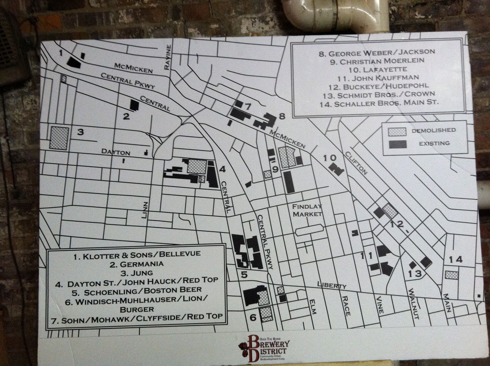 a map of all the breweries in over the rhine before prohibition