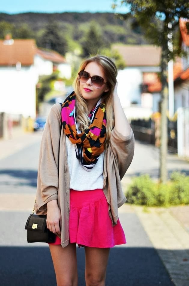 Burlywood Blouse With Colorful Scarf And Dark Pink Skirt