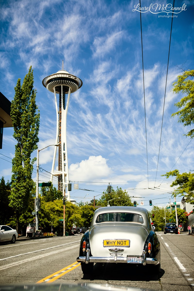 Limosine & Space Needle - Kent Buttars, Seattle Wedding Officiants