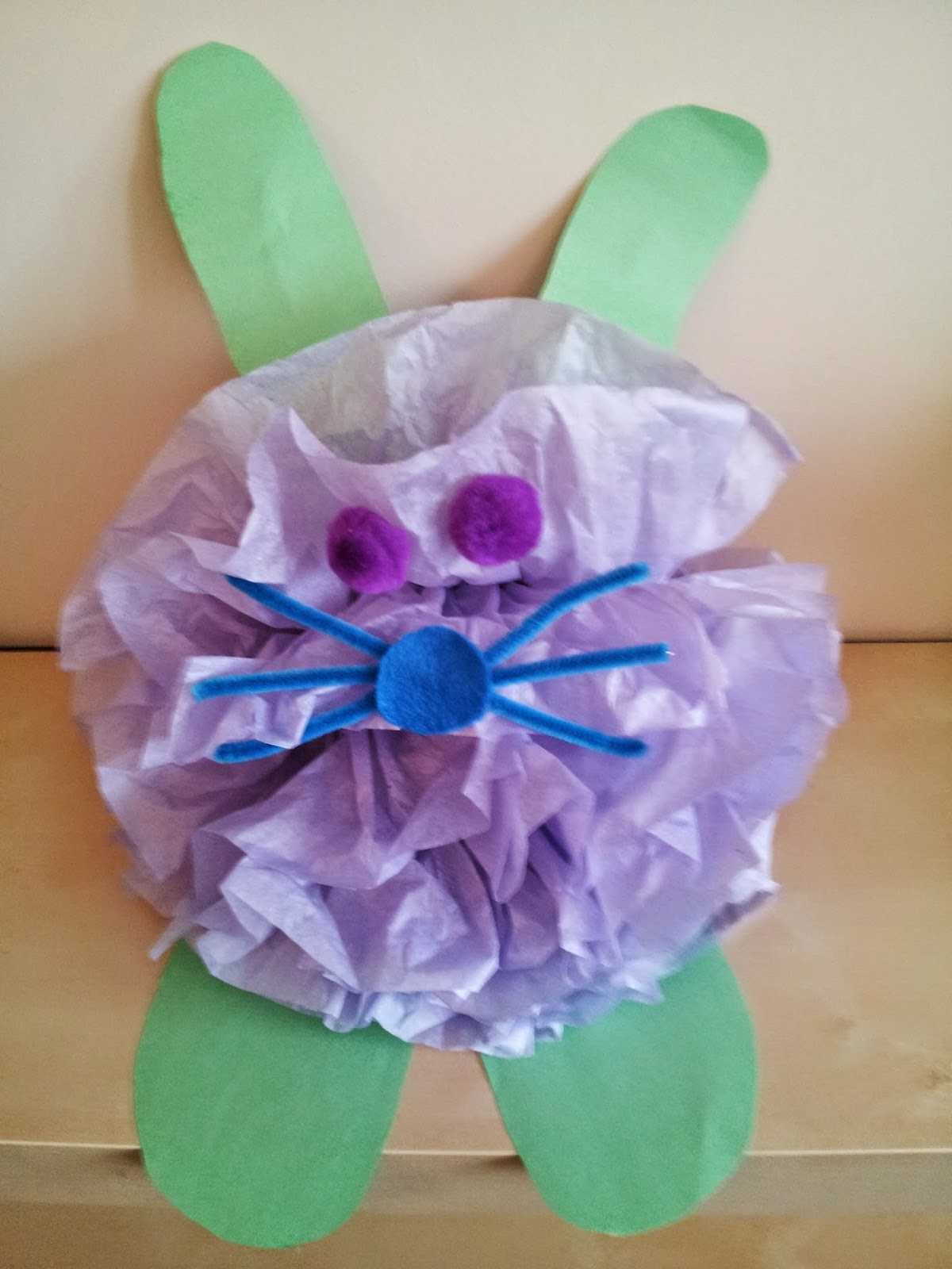 Easter bunny craft, tissue paper crafts, kids crafts