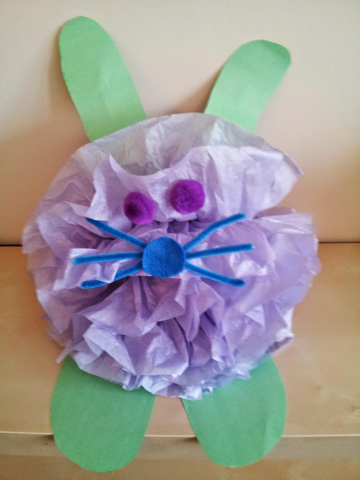 Easter bunny craft, tissue paper crafts, kids crafts