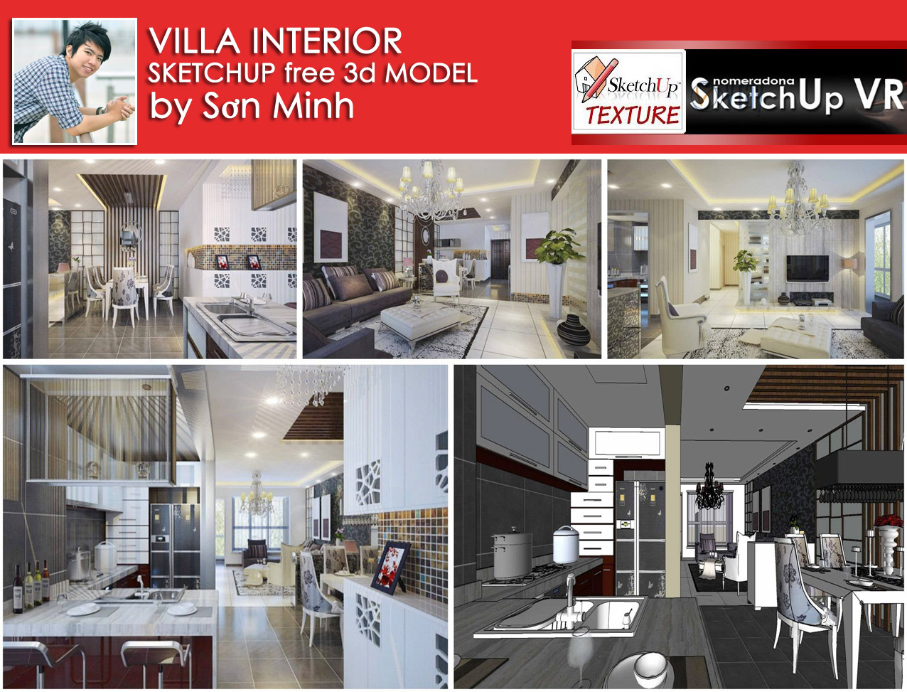 free sketchup model vray setting villa interior 2 vary render - Free Download Interior Design