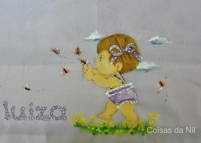 """""""fralda pintada com menininha e borboletas"""""""