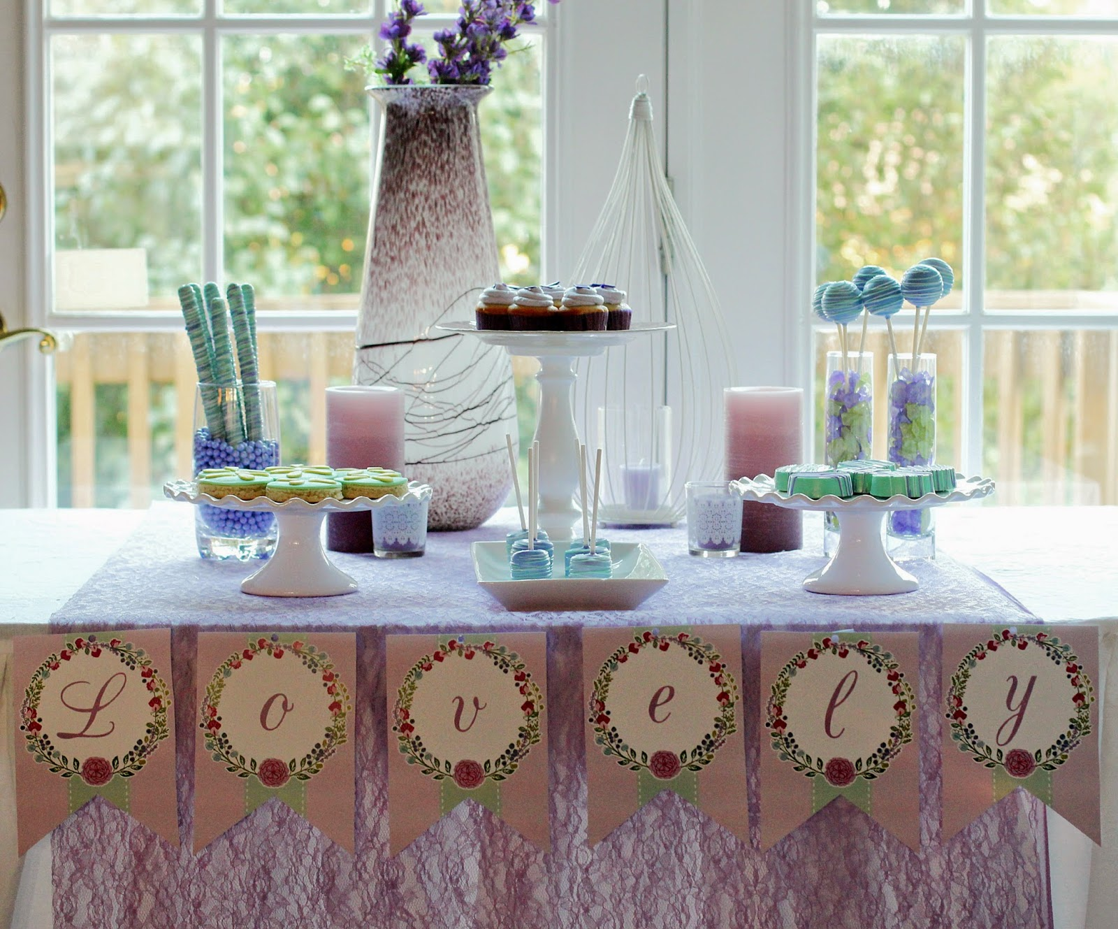 Lavender and mint dessert table ideas from playpartypin.com