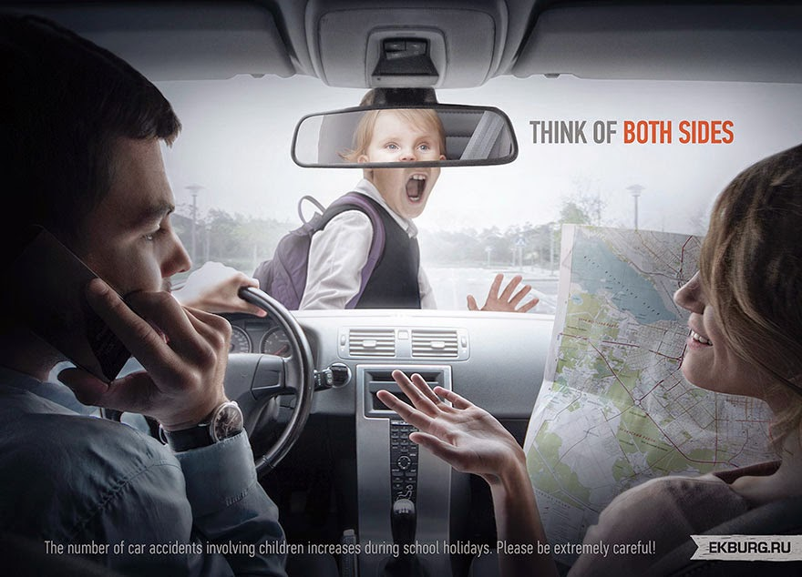 40 Of The Most Powerful Social Issue Ads That'll Make You Stop And Think - Distracted Driving: Think Of Both Sides