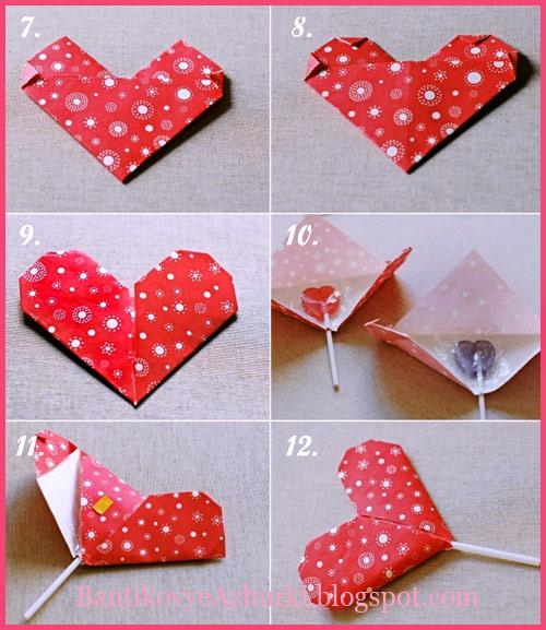 Упаковка(оригами) в виде сердечка для леденца