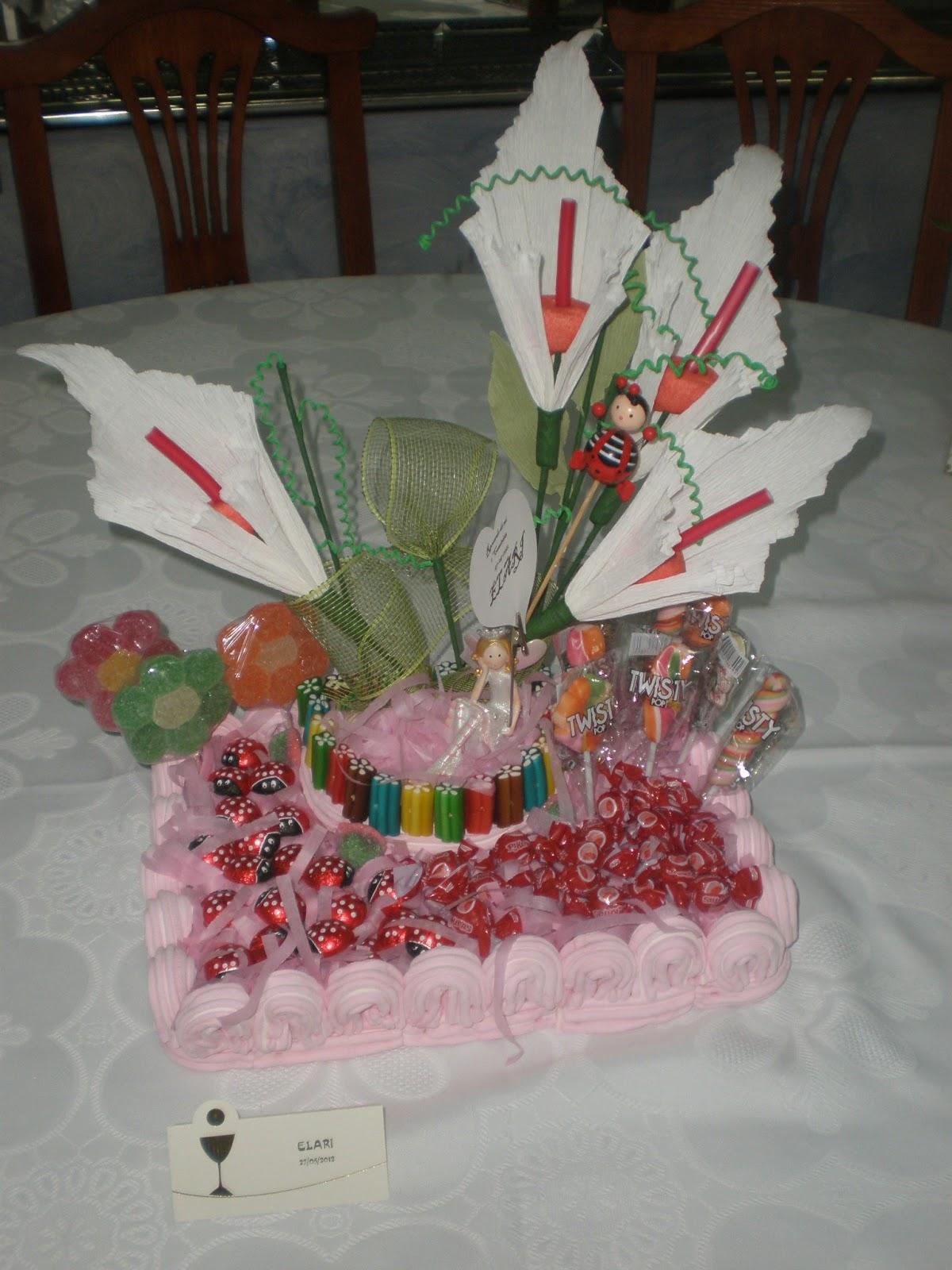 Oncho 39 s cakes centro de mesa con chuches para comuniones - Centro de mesa de chuches ...