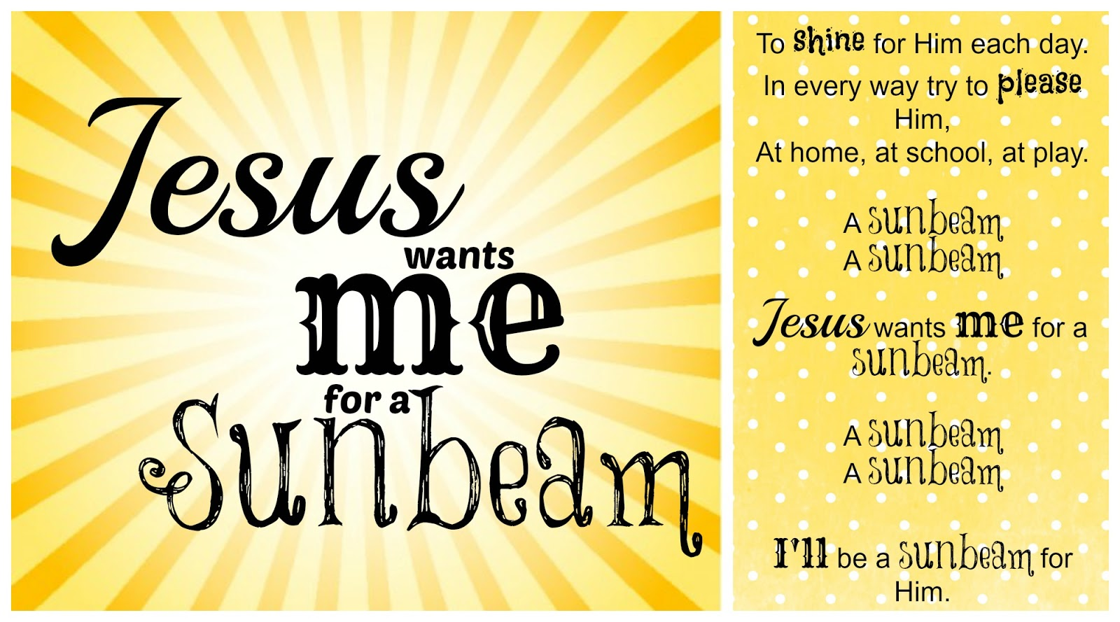 lds sunbeam printable
