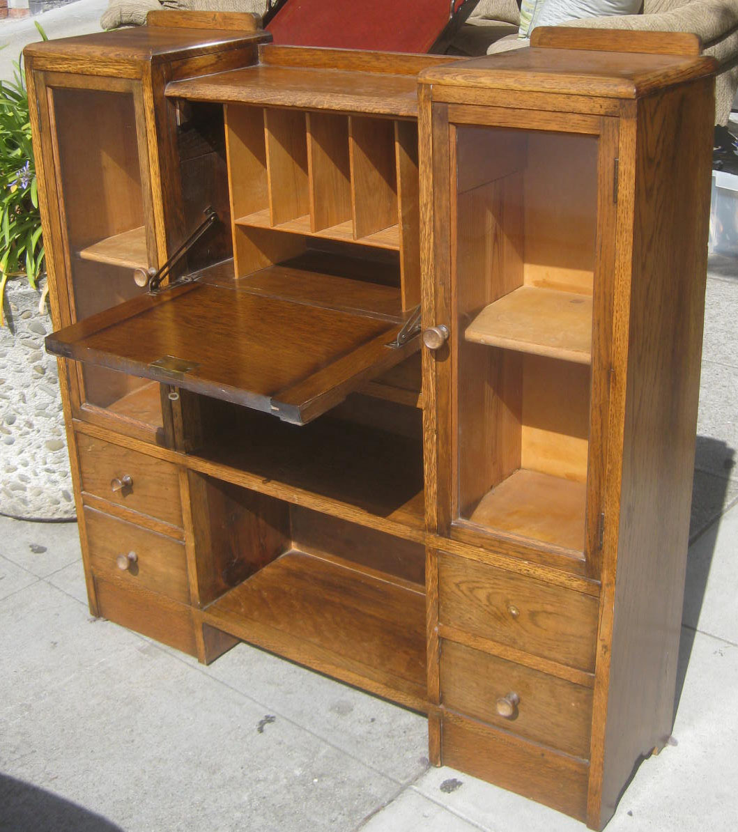 Uhuru Furniture Collectibles Sold Antique Oak Secretary Desk 225