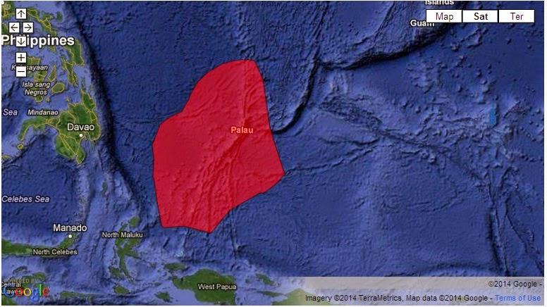 Peta Palau yang 200 mil Outdoor zona ekonomi eksklusif