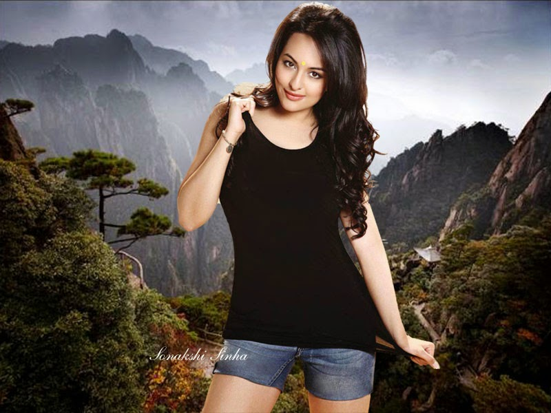 Bollywood Indian Actress Sonakshi Sinha Sexy in Black HD Wallpaper