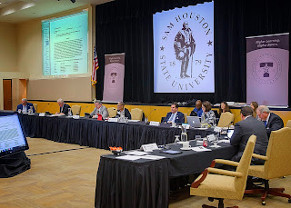 The TSUS Board of Regents recently met at SHSU.