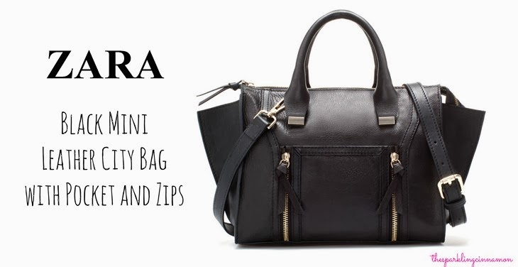 saldi zara Zara Black Mini Leather City Bag with Pocket and Zips saldi invernali 2014