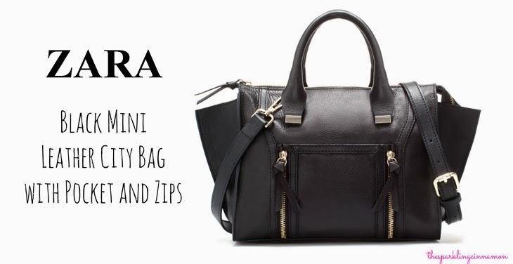 saldi zara Zara Black Mini Leather City Bag with Pocket and Zips saldi invernali 2014