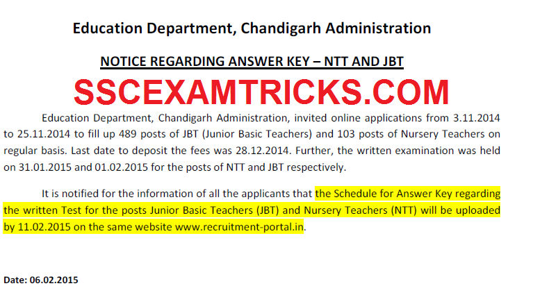 Chandigarh JBT NTT 2015 Answer Keys