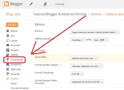 cara memunculkan tab earning atau penghasilan di blog