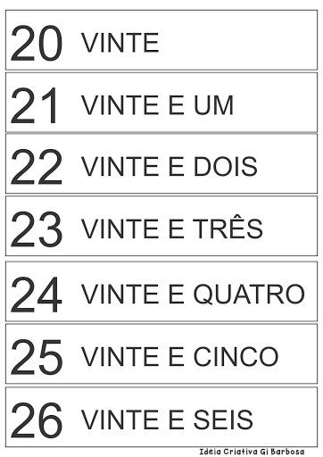 Ficha Numérica Numeral 20 a 29