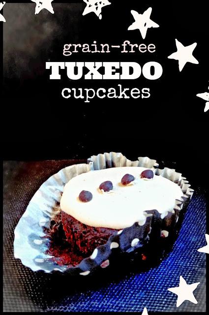 Grain-Free Tuxedo Cupcakes (Chocolate chocolate-chip cakes with Vanilla Frosting)! Grain-free, vegan, Paleo