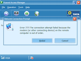 Error 777  The Connection Attempt failed due to Remote Computer Out of Order