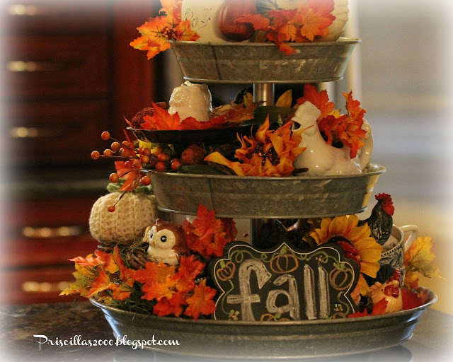 Priscillas the fall galvanized tiered tray for 3 tier pumpkin decoration