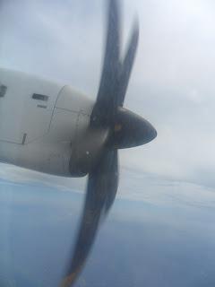 Hélice del avión Madrid-Vigo de Air Europa